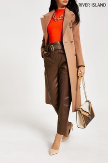 River Island Tan PU Misha Peg Trousers