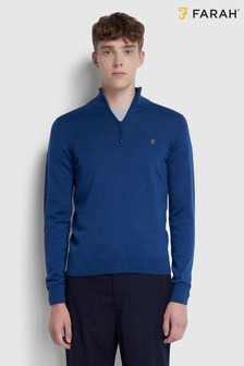 Farah True Navy Merino Wool Redchurch 1/4 Zip Jumper
