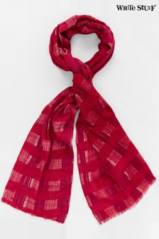 White Stuff Red Crinkled Cotton Check Scarf