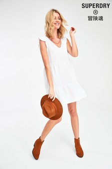 Superdry White Tiered Dress