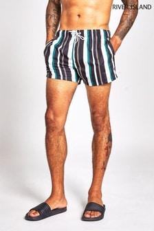 River Island Black Stripe Swim Shorts