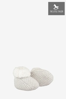 The Little Tailor Soft Grey Knitted Plush Lined Booties