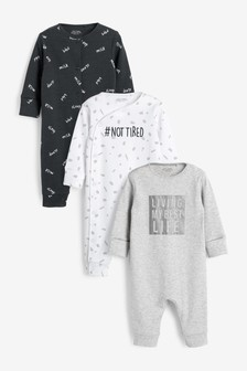 3 Pack Slogan Footless Sleepsuits (0mths-3yrs)