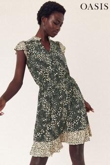 Oasis Black Mollie Leopard Dress