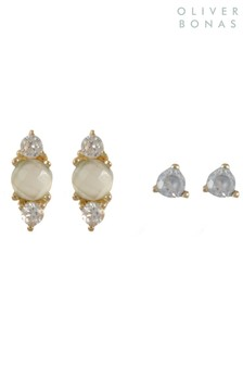 Oliver Bonas Elif Stone Cluster Gold Plated Earrings Set Of Two