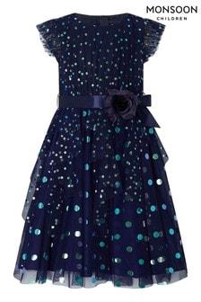 Синее детское платье в горошек цвета металлик Monsoon Stacie