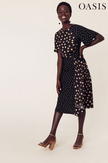 Oasis Black Patched Spot Midi Dress