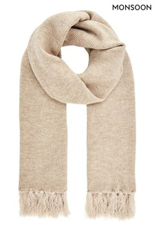 Monsoon Camel Camilla Lurex Knitted Scarf