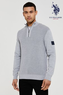 U.S. Polo Assn. Grey Rib Stitch Funnel Neck Jumper