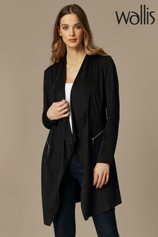 Wallis Black Suedette Longline Jacket