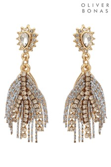 Oliver Bonas Grey Stone & Chain Feather Drop Earrings