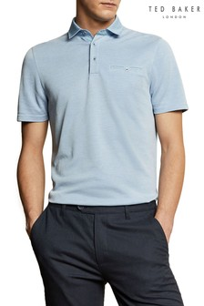 Ted Baker Blue Jetoff Woven Collar Soft Touch Polo