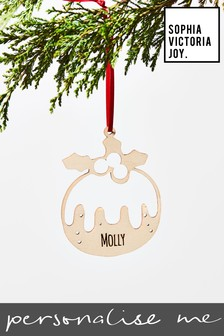 Personalised Pudding Christmas Decoration by Sophia Victoria Joy