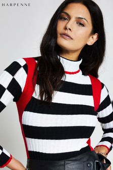 Harpenne Black White Stripe Roll Neck Jumper