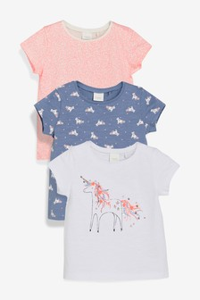 fe4795c80b5 3 Pack Unicorn T-Shirts (3mths-7yrs)