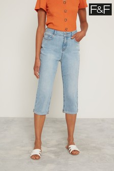 F&F Light Wash Authentic Cropped Jeans