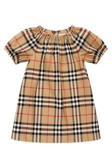 Burberry Kids Baby Girls Beige Cotton Dress