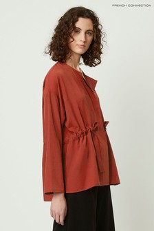 French Connection Brown Crepe Gathered Waist Shirt
