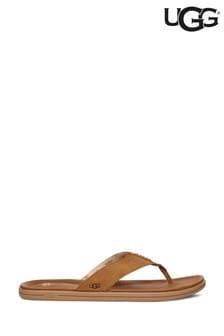 UGG® Tan Suede Flip Flops