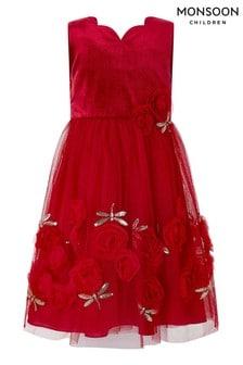 Monsoon Children Red Rashima Velvet Dragonfly Dress