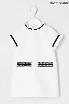 River Island White Bouclé Pocket Shimmer Shift Dress