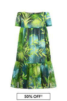 Girls Green Silk Jungle Print Dress