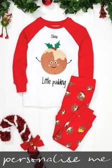 Personalised Younger Kids Pudding Christmas Pyjamas
