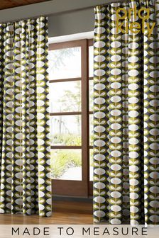 Oval Flower Seagrass Green Made To Measure Curtains by Orla Kiely