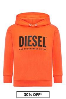 Diesel Boys Orange Cotton Sweat Top