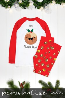 Personalised Older Kids Pudding Christmas Pyjamas