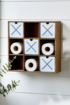 Noughts and Crosses Toilet Roll Holder and Shelf Unit