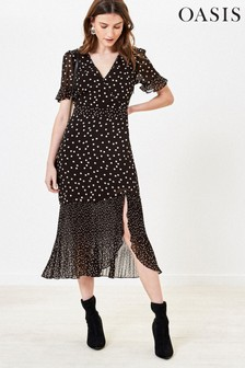 Oasis Black/White Patched Print Spot Dress