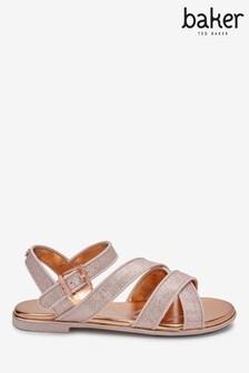 Baker By Ted Baker Rose Gold Sparkle Strap Sandals