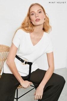 Mint Velvet Off-White V-Neck Knitted Tunic