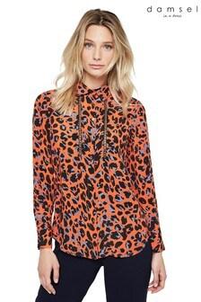 Damsel In A Dress Orange Hena Leopard Chain Shirt