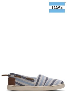 TOMS Youth Navy Stripe Espadrille