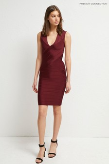 French Connection Pink Zasha Spotlight V-Neck Dress