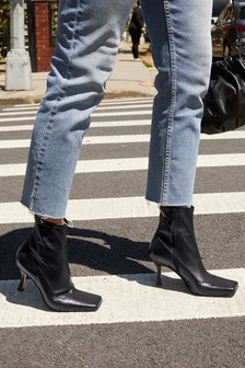 Signature Square Toe Sock Ankle Boots