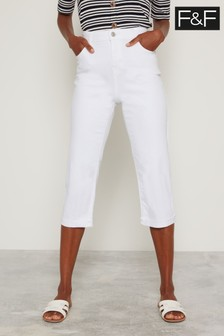 F&F White Authentic Cropped Jeans