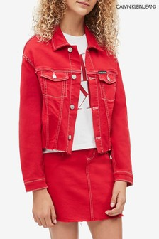 Calvin Klein Red Jeans Cropped Denim Trucker Jacket