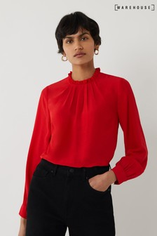 Warehouse Red Ruffle Neck Top