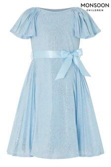 Monsoon Children Blue Ice Guilded Pleat Dress