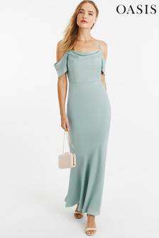 Oasis Green Amy Slinky Cowl Neck Maxi Dress*