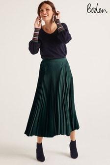 Boden Green Kristen Pleated Skirt