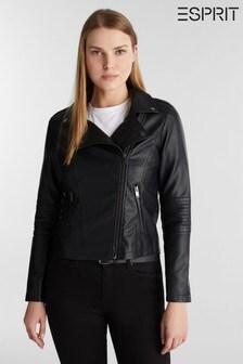 Esprit Black Faux Leader Jacket