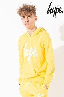 Hype. Yellow Script Kids Pullover Hoody