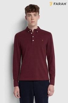 Farah Red Ricky Long Sleeve Poloshirt