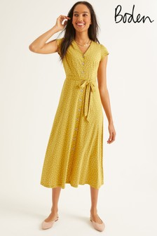 Boden Yellow Frances Jersey Midi Dress