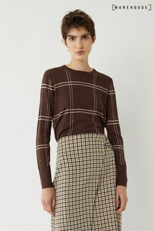 Warehouse Brown Check Button Side Jumper