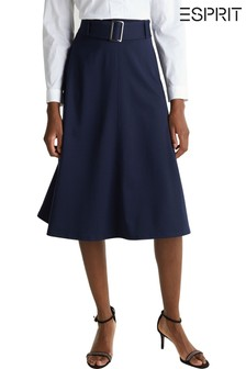 Esprit Blue Knitted Skirt With Belt Detail